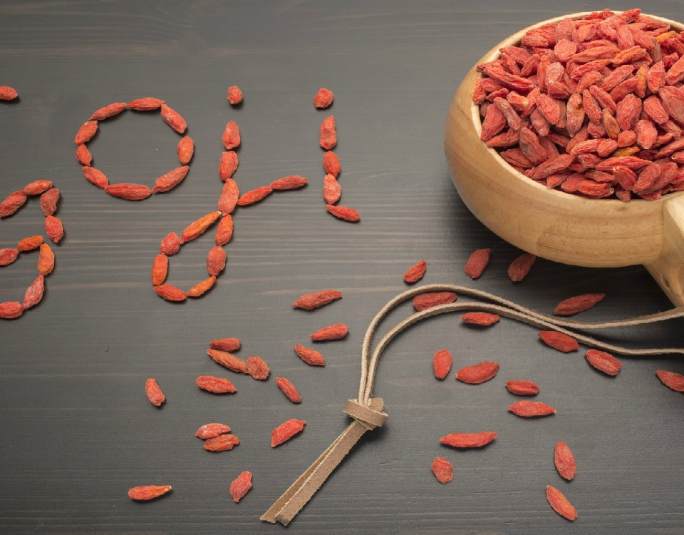 Goji Berry in a wooden cup